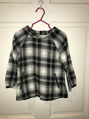 Calvin Klein Plaid Black Gray White Flannel Dress 3t Euc