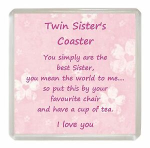 Image Is Loading TWIN SISTER Drink Coaster Fun Poem Novelty Birthday