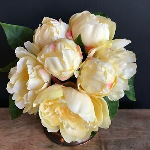 Bunch of 7 yellow artificial peonies faux silk peony flowers ebay image is loading bunch of 7 yellow artificial peonies faux silk mightylinksfo