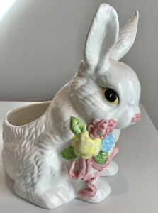 Vintage Planter -  Large Easter Bunny Ceramic Hand Painted Planter, So Cute!