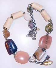 Chicos Pink Quartz Necklace Gold Tone Signed Multi Stone Bone and Glass