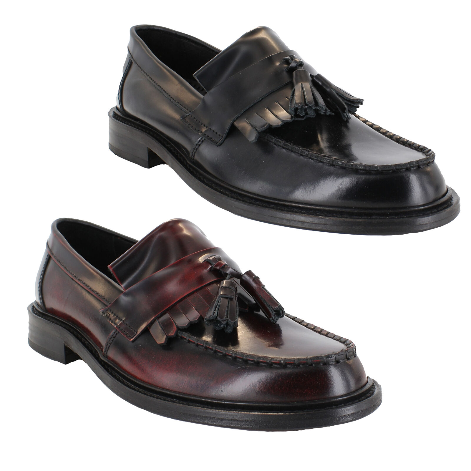 Mens Womens IKON Selecta Ska Mod Leather Tassle Loafers shoes Sizes 7 to 12