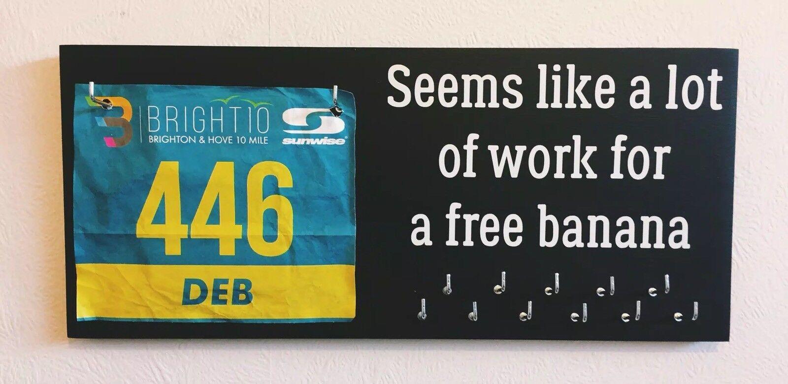 Free Banana Bib & Medal Runner   Sports Medal & Bib hanger   holder  display