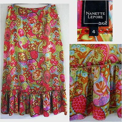 Long wrap skirt 18 Pure silk Light Pink Print Maxi Bright Paisley Summer