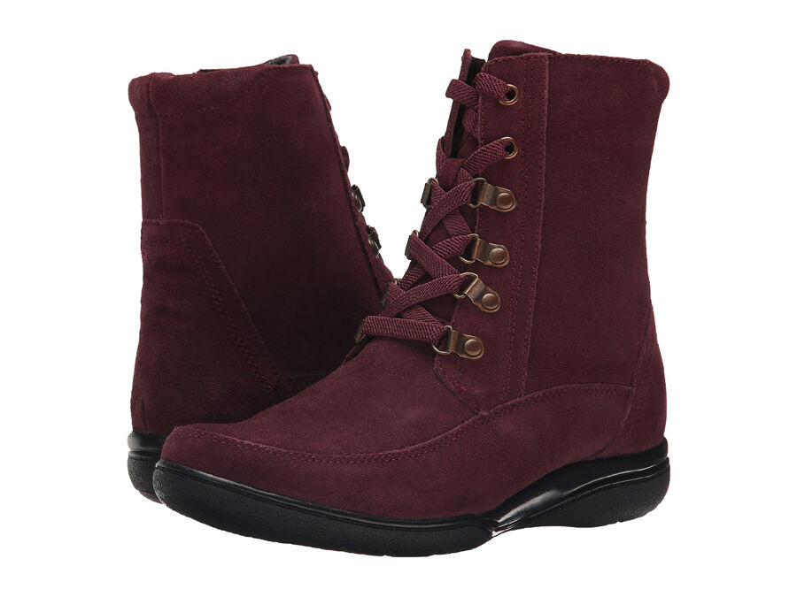 New Clarks KEARNS SIRENA Leather Women Women Women Boots Size 7 Burgundy (MSRP  180) 17418b