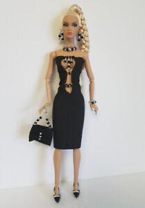 Poppy-Parker-Doll-Clothes-Black-Beaded-DRESS-PURSE-amp-JEWELRY-Fashion-NO-DOLL-d4e