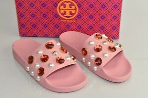 17386e54a317  225 NEW Tory Burch VAIL Pearls Crystal Jeweled PVC Slides Sandals ...