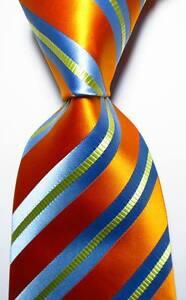 New-Classic-Striped-Orange-Sky-Blue-Yellow-JACQUARD-WOVEN-Silk-Men-039-s-Tie-Necktie