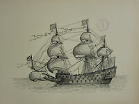 1936 SAILING SHIP PRINT ~ THE SOVEREIGN OF THE SEAS (1637)