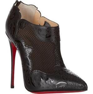 huge discount 63819 8ccad Details about Christian Louboutin MANDOLINA Blck Laser Cut Mesh Leather  Heels Boots Shoe $1495