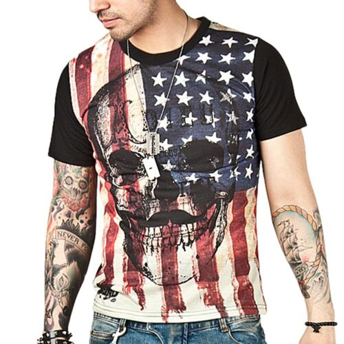 Cool Men/'s American Skull T Shirt US Rock US Flag Pride july 4 Pirates