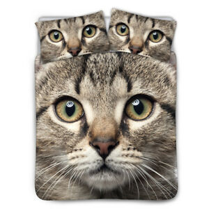Cat-Printed-Bed-Duvet-Cover-Bedspread-Sheet-Animal-Cute-Bedding-Set-King-Queen