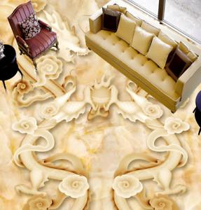 3D dos dragones Piso impresión de parojo de papel pintado mural 67 5D AJ Wallpaper Reino Unido Limón