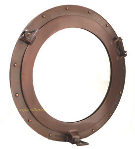 Window-Porthole-Mirror-24-034-Copper-Antique-Ship-Porthole-Nautical-Home-Wall-Decor