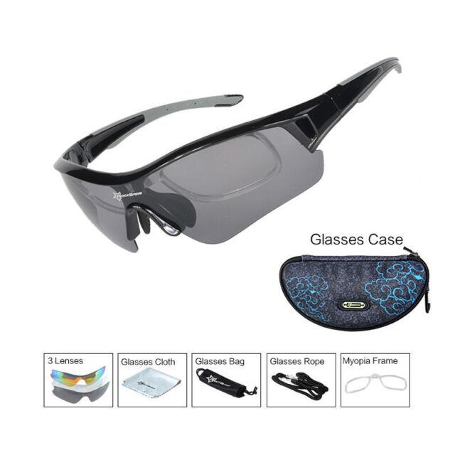 34c83d6e2d8 RockBros Polarized Cycling Glasses Sport Sunglasses Myopia Eyewear Frame  Black