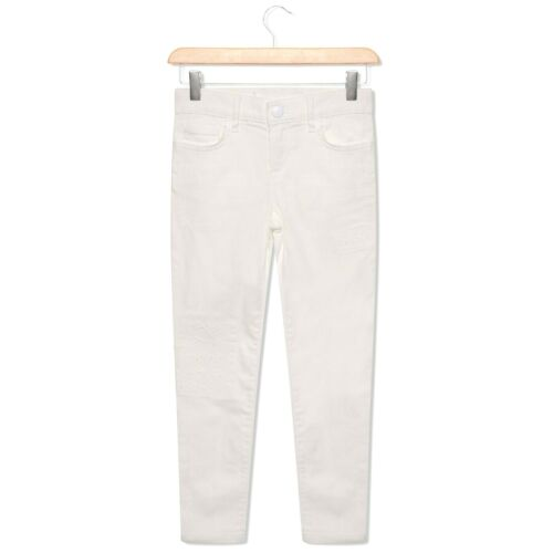 Girls White Skinny Jeans Distressed Stretchy 6-16 Years