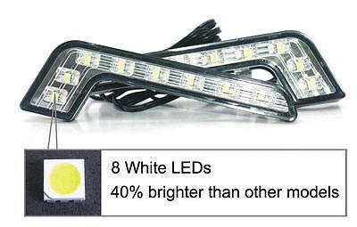 L Shape 8 LED White DRL Car Daytime Running Lamp Fog Light for Benz Audi BMW