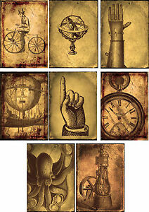 Vintage-inspired-steampunk-clock-octopus-scrapbooking-cards-8-w-envelopes