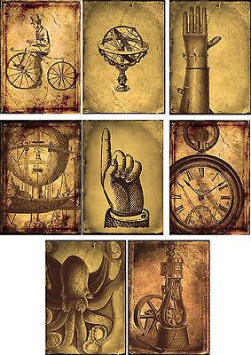 Vintage inspired steampunk clock octopus scrapbooking cards 8 w/ envelopes