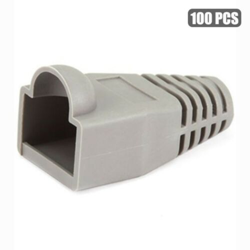 100 Pcs RJ45 Ethernet Network Boot Cap Cable End Plug Connector Cat6 Cat5E Gray