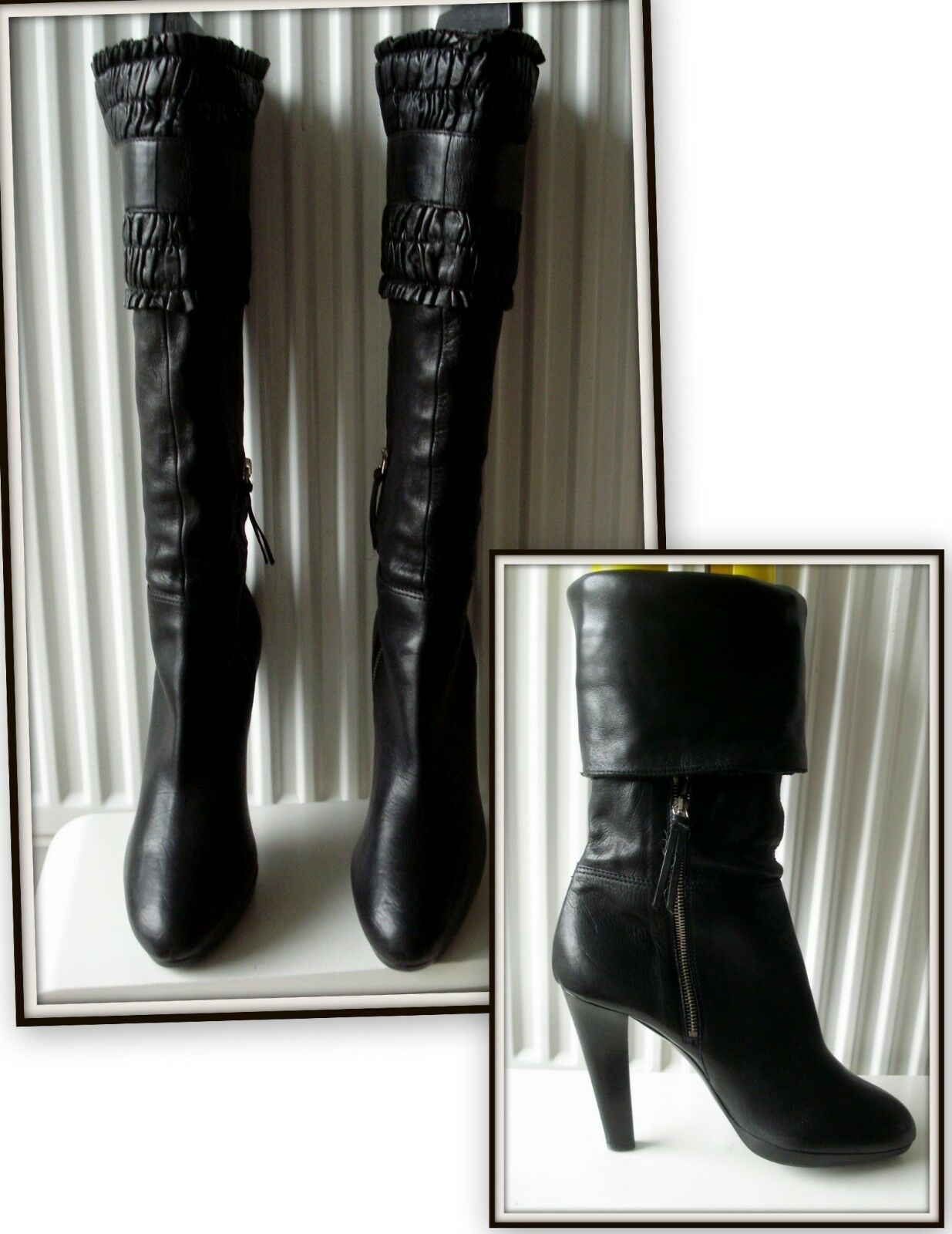 Bottines Bottes Miu Miu made Italie cuir noir 41 41 noir vintage Stiefel 0bdf92