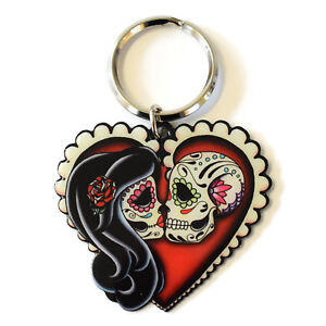 Ashes-Red-Heart-Sugar-Skull-Lovers-Metal-Key-Ring-Keyring-Day-of-the-Dead