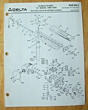 Original Delta 10 Radial Arm Saw 33 900 33 990c Illustrated Parts List Ras 2g 1