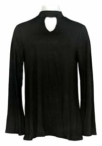 Laurie-Felt-Women-039-s-Top-Sz-M-Knit-W-Choker-Neckline-Detail-Black-A301697