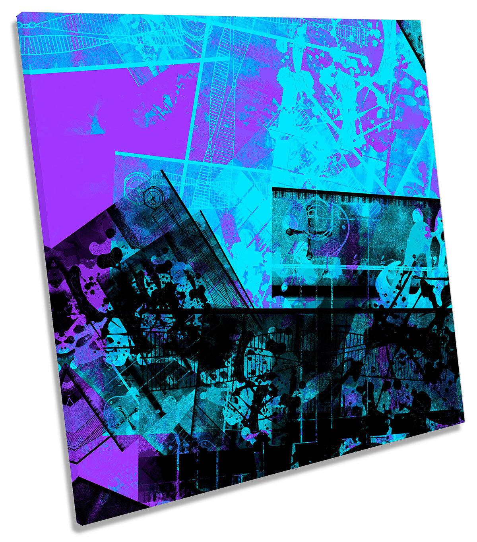 blu Grunge astratto turchese art. A Muro Immagine Stampa quadrato
