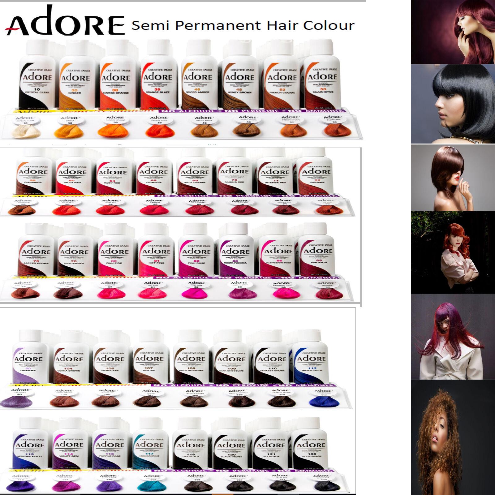 Adore Semi Permanent Hair Dye Colour Ammonia Peroxide Alcohol Free