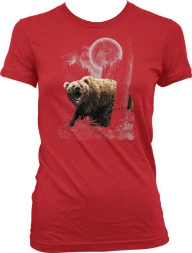 Grizzly Bear Moon Spirit Animal Wild Outdoors Nature Juniors T-shirt