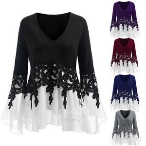 Women-039-s-T-Shirt-Applique-Layered-V-Neck-Tops-Lace-Long-Sleeve-Slim-Blouse-L-5XL