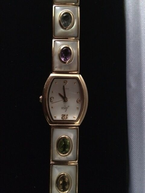 ARIA QUARTZ WATCH WITH MOTHER PEARLS AND SEMI PRECIOUS STONES 7 INCHES LONG