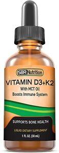 MAX Absorption Vitamin D3 +K2 (MK-7) Liquid Drops with MCT Oil Peppermint Flavor