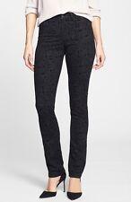 NYDJ Not Your Daughter's Jeans Slim Straight Black Medallion Pants Jeans Sz 8