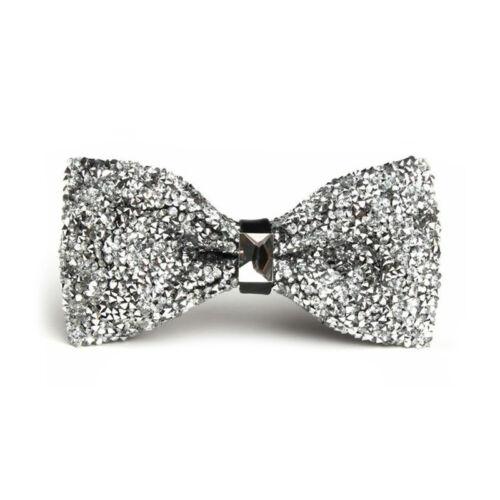 Men Adjustable Stretch Glitter Rhinestone Bowtie Sparkle Tuxedo Pre Tied Bow Tie