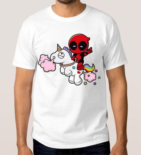 Deadpool Riding A Unicorn T-Shirt All Sizes Marvel Comics Tee