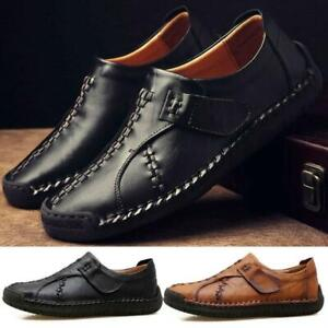 Mens-Driving-Casual-Moccasins-Leather-Loafers-Slip-On-Boat-Deck-Shoes-Dark-Brown