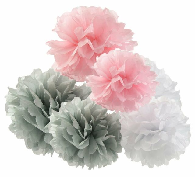 12 Pcs Pink Grey White Hanging Tissue Paper Pom 10inch 8inch Flowers