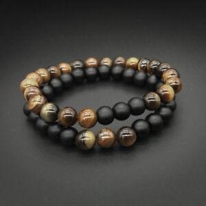 Set de 2 bracelets en pierre fine naturelle onyx noir mat et oeil de tigre- neuf O28LwsBf-09092320-216887807