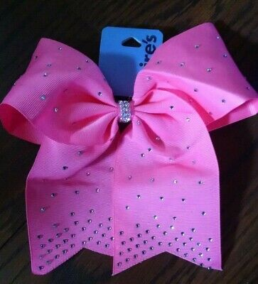 Large Ribbon Rhinestone Cheer Bow With Elastic Band For Girls Kids S