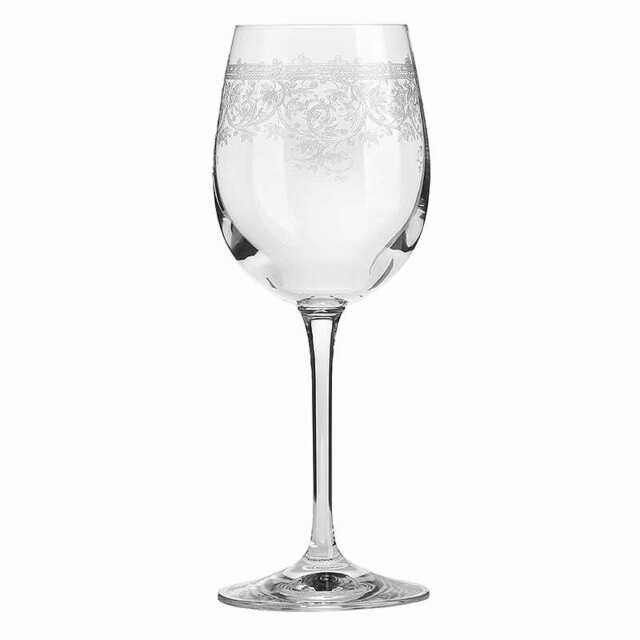 Lucca Etched White Wine Glasses Set of 6
