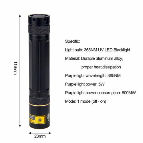 365nm UV Flashlight Ultra-Violet Blacklight LED Zoom Inspection Lamp Torch 18650