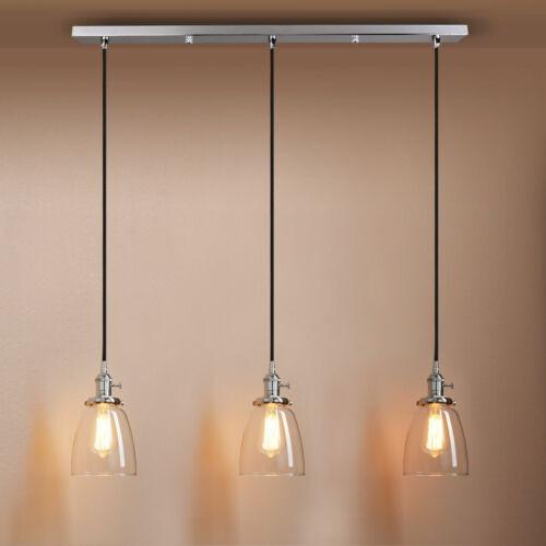 Cluster 3 Industrielle Glocke Klarglas Leuchtmittel Loft Hanging Hängeleuchte
