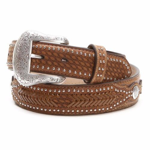 Nocona Western Mens Belt Ostrich Leather Weave Billets Laced Brown N2491844