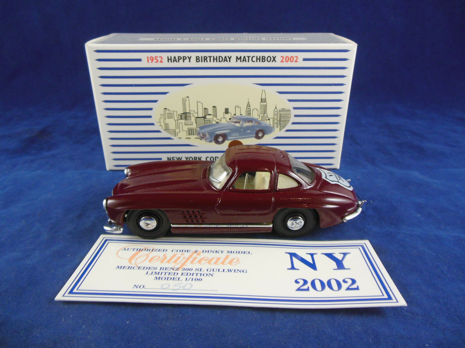 Scarce Code 2 Dinky 006 Mercedes Benz 300 Gullwing Maroon New York 2002 (DY-12)