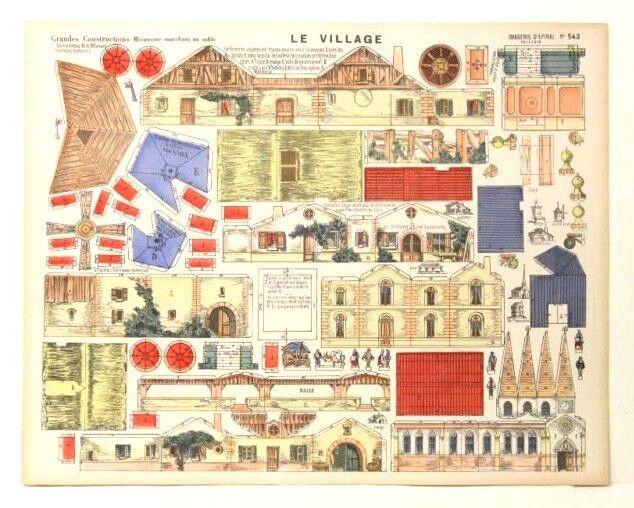 Imagerie d'epinal no 543 le pueblo grandes construcciones robusto modelo de papel