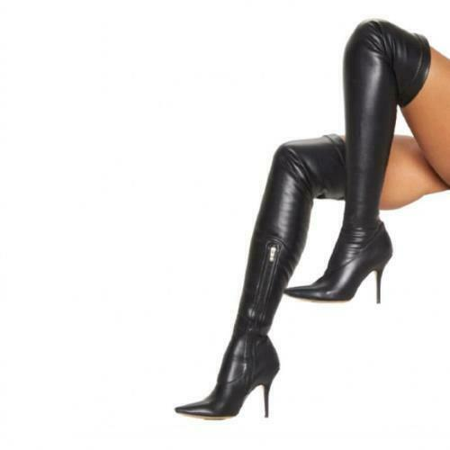 Details about  /Sexy Women/'s Stilettos Heel Over The Knee Thigh Stretch Boots Pointy Toe Show L