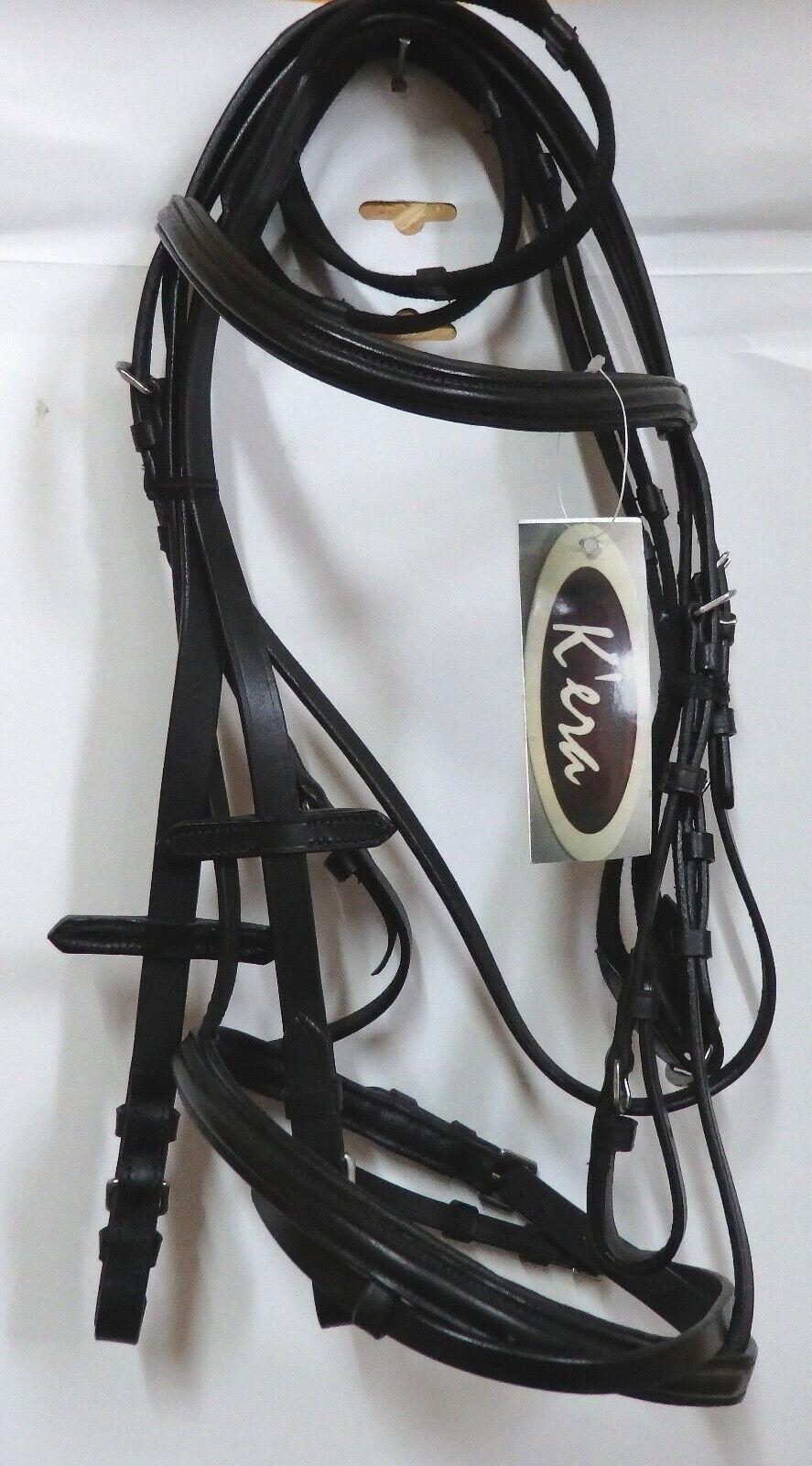 K`era Pony Trense, black, Gurt Zügel, engl.. (C47)