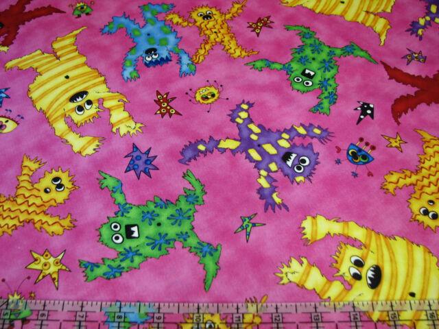 3 Yards Quilt Cotton Fabric - QT KP Kids Monster Mash Monsters Toss Hot Pink